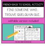 French Back to School Bingo Activity: Find Someone Who - T