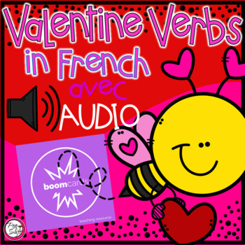 FRENCH BOOM CARDS • Les verbes • LA SAINT-VALENTIN avec Audio