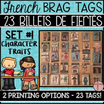 FRENCH BRAG TAGS - BILLETS DE FIÈRTÉ (SET: CHARACTER EDUCATION - 23 BRAG TAGS)