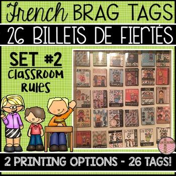 FRENCH BRAG TAGS - BILLETS DE FIÈRTÉ (SET: CLASSROOM RULES