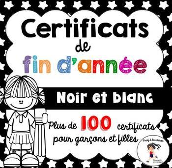 FRENCH BW End of Year Awards/ Certificats de fin d'année en noir et blanc