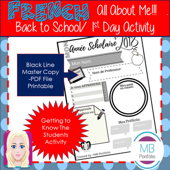 FRENCH - Back to School- 2018 School Year Worksheet for 1st Day of School