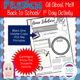 FRENCH - Back to School- School Year Worksheet- 1st Day of School- UPDATED!