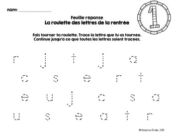 FRENCH {Back to school ABC center}/ Rentrée {Roulettes des lettres}
