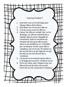 FRENCH Back to school Bingo retour des vacances