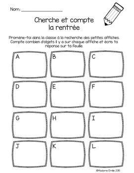 FRENCH Back to school Count the room/ Cherche et compte (Rentrée)