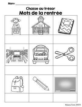 FRENCH {Back to school words Scavenger Hunt}/ Rentrée{chasse aux mots}