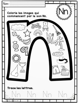 FRENCH Beginning Sounds Color A to Z / Sons initiaux à colorier A à Z