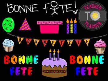 FRENCH Birthday Clipart Set 1 {TeacherToTeacher Clipart}