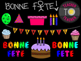 FRENCH Birthday Clipart Set 1 {TeacherToTeacher Clipart}