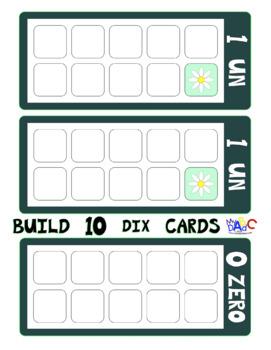Build 10 Math Game Cards in French Board Size with Flowers