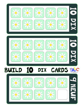 FRENCH Build 10 Flowers Large Math Game Cards