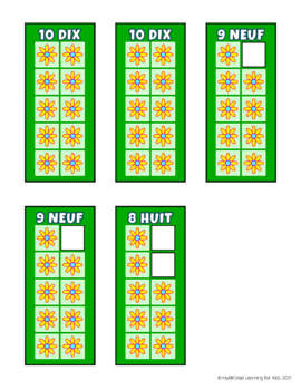 FRENCH Build 10 Flowers Math Game Cards
