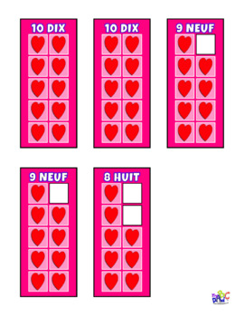 FRENCH Build 10 Hearts Math Game Cards
