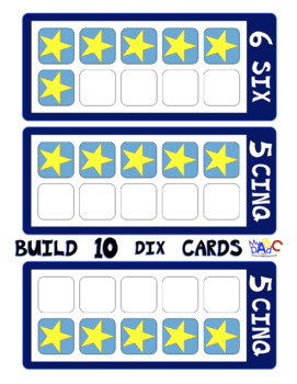 FRENCH Build 10 Stars Large Math Game Cards