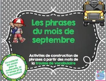 FRENCH Bundle Les phrases du mois/ Sentences building activities
