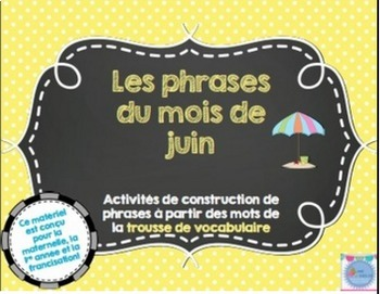 FRENCH Bundle Les phrases du mois/ Sentences building activities