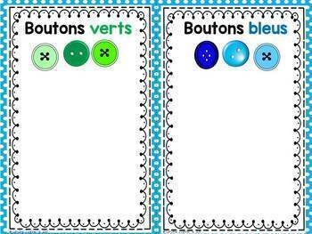 FRENCH Button Sorting Mats/ Trions les boutons - Napperons de classification