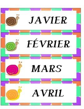 FRENCH CALENDAR NUMBER CARDS- SNAIL THEME (FRANCAIS)