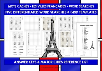 FRENCH CITIES - FIVE DIFFERENTIATED WORD SEARCHES WITH ANSWER KEY AND TEMPLATE