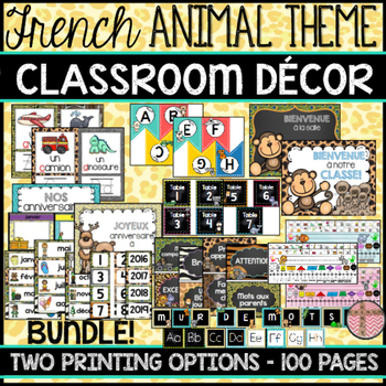 FRENCH CLASSROOM DECOR - ANIMALS THEME (BACK-TO-SCHOOL/RENTRÉE SCOLAIRE)
