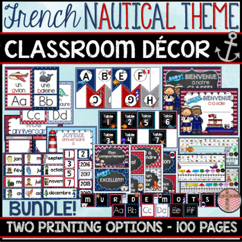 FRENCH CLASSROOM DECOR - NAUTICAL THEME (RENTRÉE SCOLAIRE - NAUTIQUE)