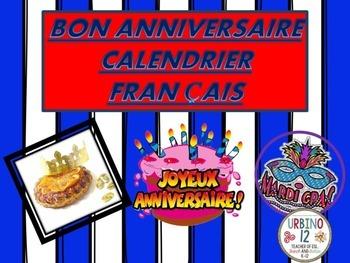 FRENCH: BON ANNIVERSAIRE CALENDRIER