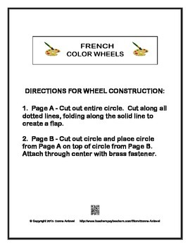 FRENCH COLOR VOCABULARY MANIPULATIVE