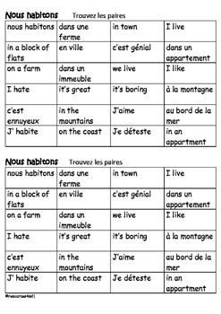 FRENCH - COLOUR MATCH - Nous habitons