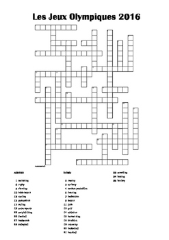 FRENCH - CROSSWORD - Les Jeux Olympiques 2016 (2)