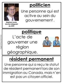 FRENCH Canadian Government and Citizenship Word Wall Resource