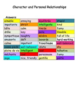 FRENCH - Describing Character and Personal Relationships