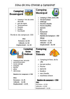 FRENCH - Choose a Campsite - Reading Comprehension (Camping)