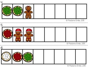 FRENCH Christmas Math Centers/ Ateliers numératie (biscuits de Noël)