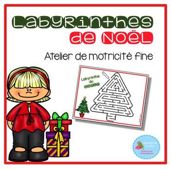 FRENCH Christmas Mazes Mats/ Atelier motricité fine (labyrinthes de Noël)