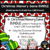FRENCH Christmas Memory Game BUNDLE (Kindergarten to Grade 5 CORE French)
