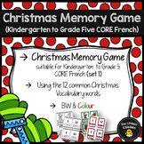 FRENCH Christmas Memory Game {Set 1} (Kindergarten to Grade 5 CORE French)