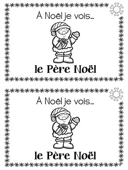 FRENCH Christmas Vocabulary Mini Booklet (K-Grade 2 CORE FRENCH)
