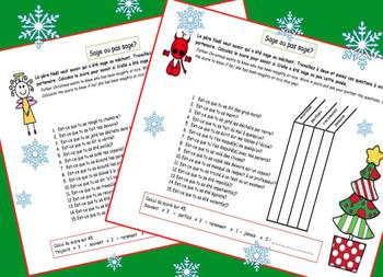 "FRENCH Christmas Noel Oral Work ""kindometer"" [EDITABLE]"