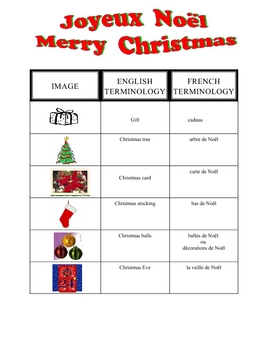 FRENCH - Christmas Noel Vocabulary Sheet and KEY