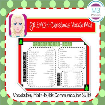 FRENCH:  Christmas VOCAB MAT