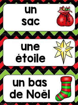 FRENCH Christmas Word Wall Cards /Noël Mots de vocabulaire