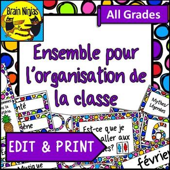 FRENCH Classroom Organization Set- Editable