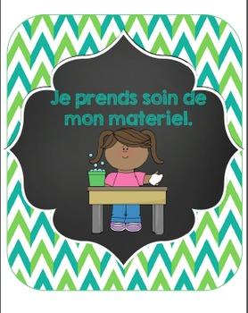 FRENCH -Classroom decor bundle/ Ensemble affichage vert et turquoise