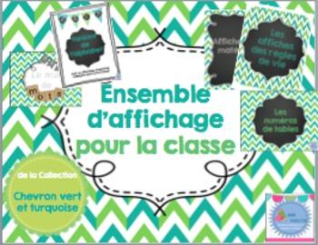 FRENCH -Classroom decor bundle/ Ensemble affichage vert et