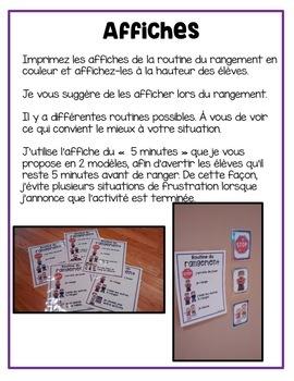 FRENCH Clean up routine/ Routine du rangement(Affichage, comptines et activités)