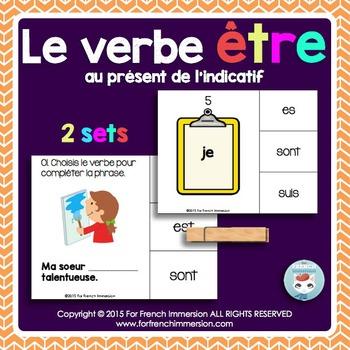 Verbe ÊTRE - FRENCH Clip Cards - au présent de l'indicatif