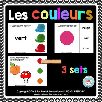 Couleurs - colors in FRENCH Clip Cards