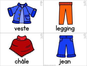 FRENCH Clothing Word Vocabulary Cards (cartes de vocabulaire - les vêtements)