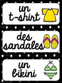 FRENCH Clothing Word Wall Cards /  Vêtements - Mots de vocabulaire